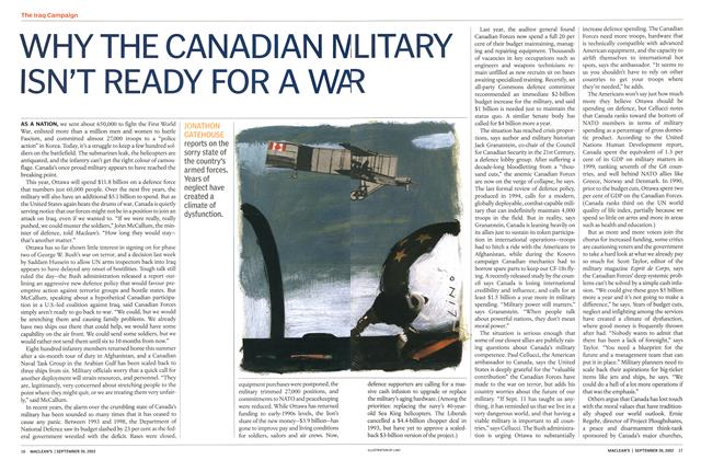 Article Preview: WHY THE CANADIAN MILITARY ISN'T READY FOR A WAR, September 2002 | Maclean's