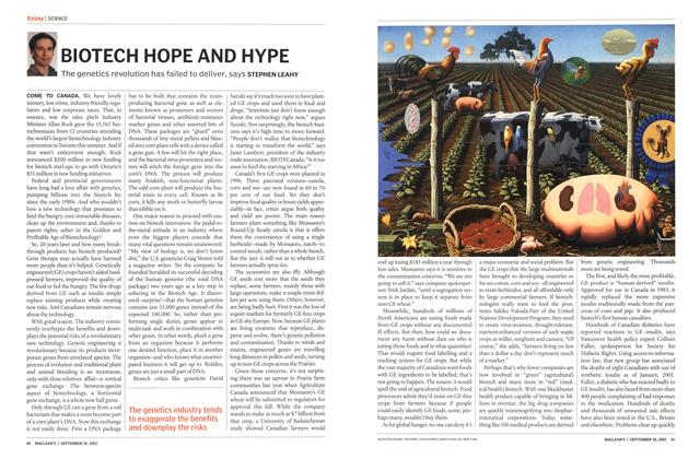 Article Preview: BIOTECH HOPE AND HYPE, September 2002 | Maclean's