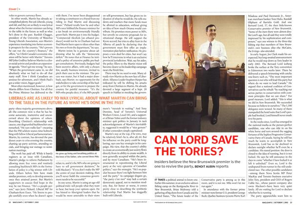 Article Preview: CAN LORD SAVE THE TORIES?, October 2002 | Maclean's
