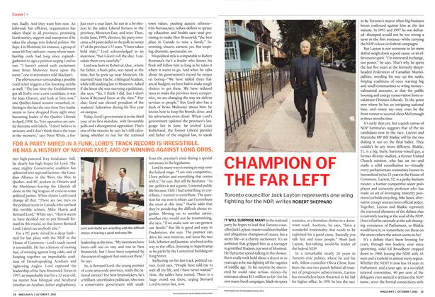 Article Preview: CHAMPION OF THE FAR LEFT, October 2002 | Maclean's