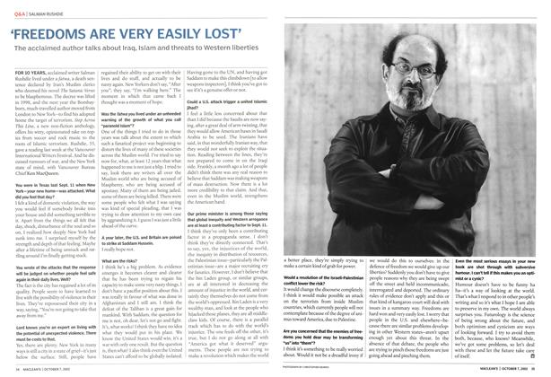 Article Preview: 'FREEDOMS ARE VERY EASILY LOST', October 2002 | Maclean's