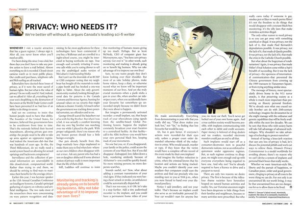 Article Preview: PRIVACY: WHO NEEDS IT?, October 2002 | Maclean's