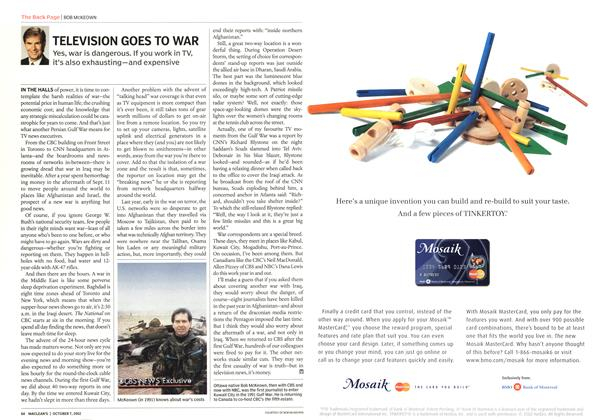 Article Preview: TELEVISION GOES TO WAR, October 2002 | Maclean's