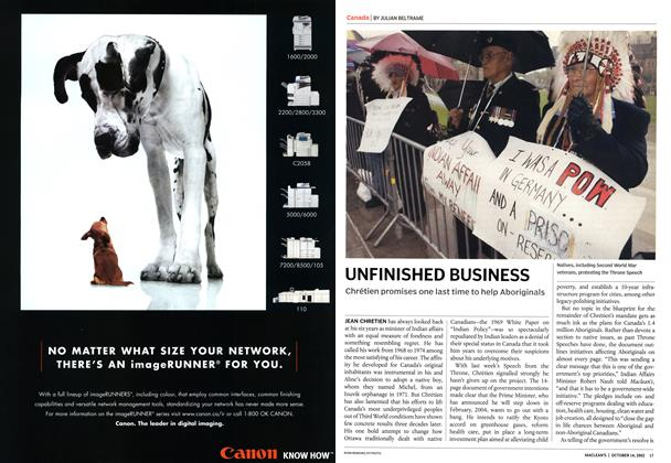Article Preview: UNFINISHED BUSINESS, October 2002 | Maclean's