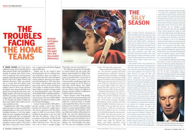 Article Preview: THE TROUBLES FACING THE HOME TEAMS, October 2002 | Maclean's