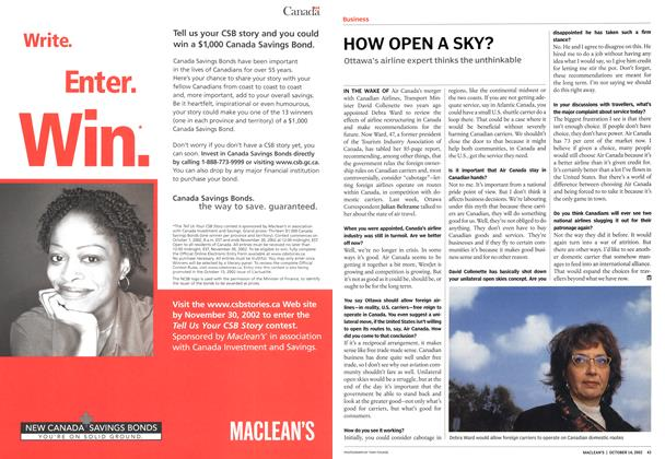 Article Preview: HOW OPEN A SKY?, October 2002 | Maclean's
