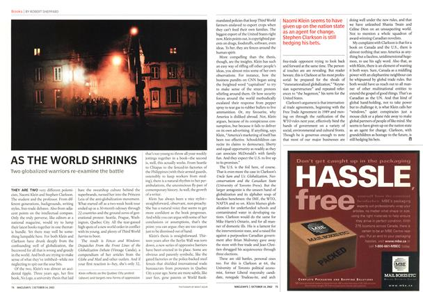 Article Preview: AS THE WORLD SHRINKS, October 2002   Maclean's