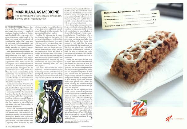 Article Preview: MARIJUANA AS MEDICINE, October 2002 | Maclean's