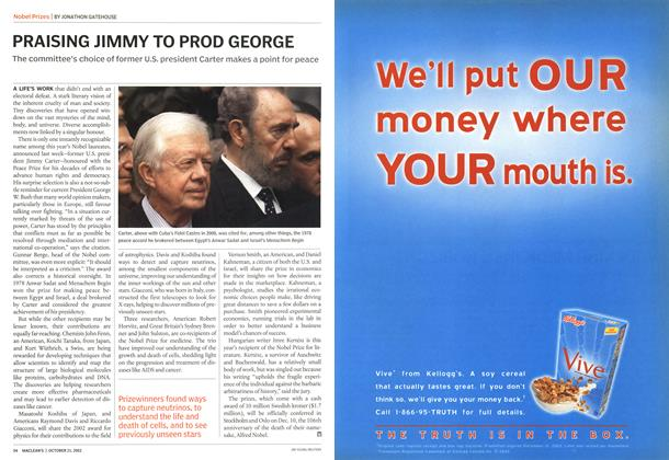 Article Preview: PRAISING JIMMY TO PROD GEORGE, October 2002 | Maclean's