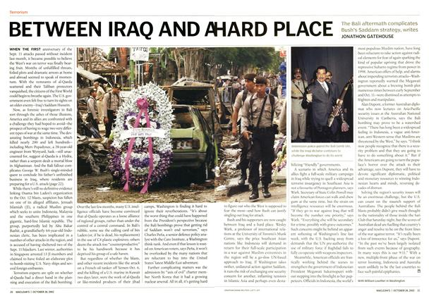 Article Preview: BETWEEN IRAQ AND A HARD PLACE, October 2002 | Maclean's