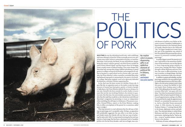 Article Preview: THE POLITICS OF PORK, November 2002 | Maclean's