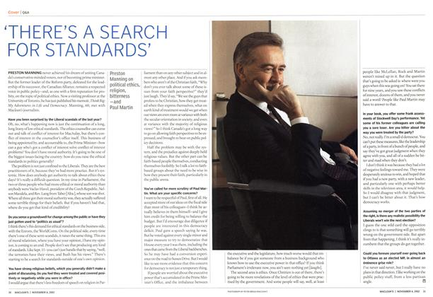 Article Preview: 'THERE'S A SEARCH FOR STANDARDS', November 2002 | Maclean's
