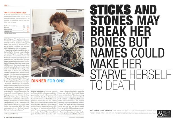 Article Preview: DINNER FOR ONE, November 2002 | Maclean's