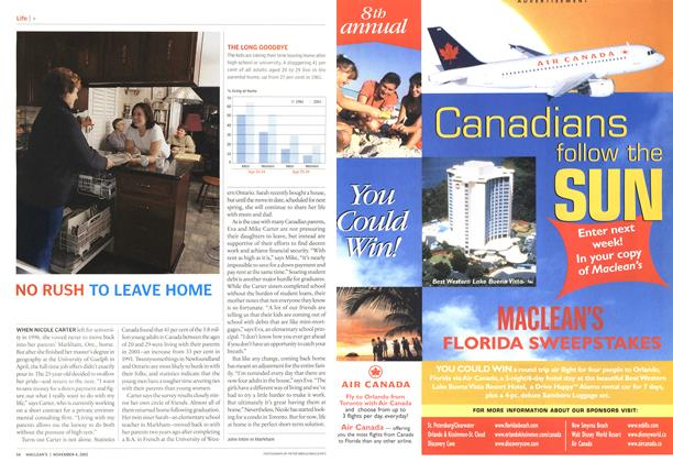 Article Preview: NO RUSH TO LEAVE HOME, November 2002 | Maclean's