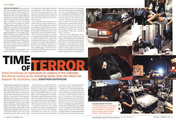 Article Preview: TIME OF TERROR, November 2002 | Maclean's