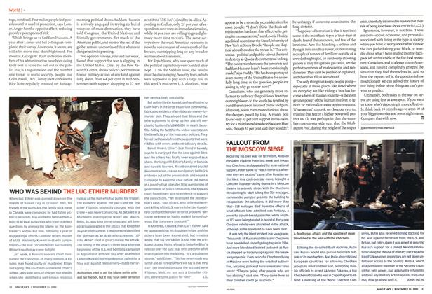 Article Preview: FALLOUT FROM THE MOSCOW SIEGE, November 2002 | Maclean's