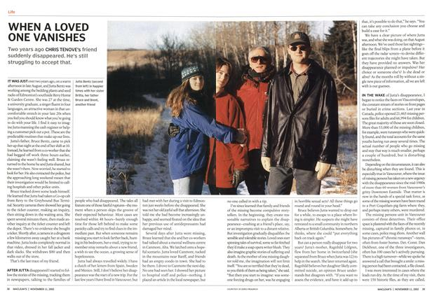 Article Preview: WHEN A LOVED ONE VANISHES, November 2002 | Maclean's