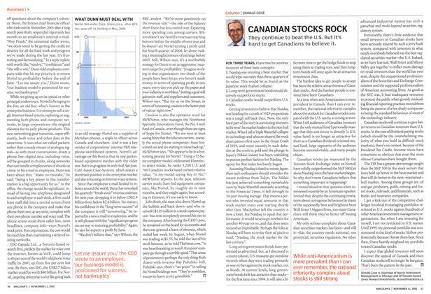 Article Preview: CANADIAN STOCKS ROCK, November 2002 | Maclean's
