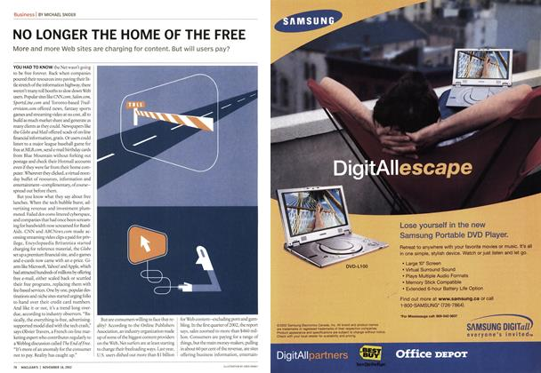 Article Preview: NO LONGER THE HOME OF THE FREE, November 2002 | Maclean's