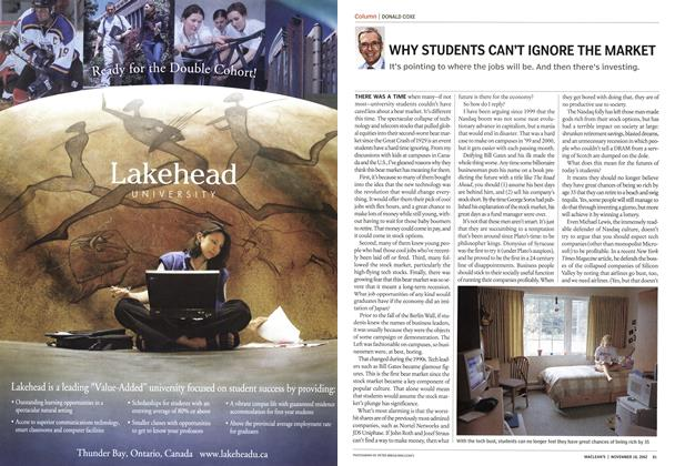 Article Preview: WHY STUDENTS CAN'T IGNORE THE MARKET, November 2002 | Maclean's