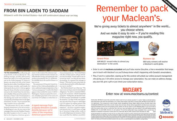 Article Preview: FROM BIN LADEN TO SADDAM, November 2002 | Maclean's