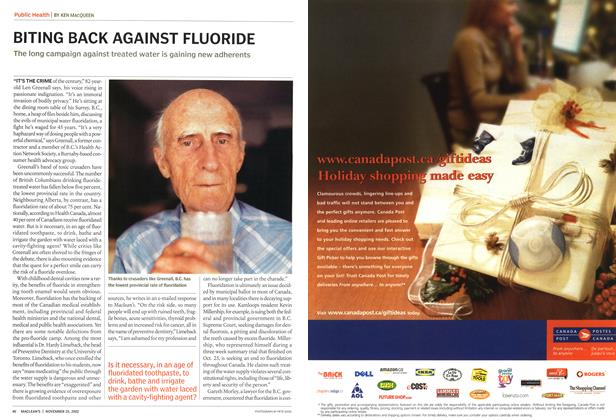 Article Preview: BITING BACK AGAINST FLUORIDE, November 2002 | Maclean's