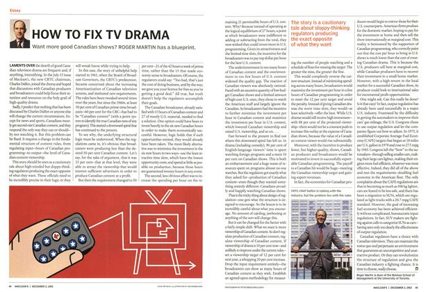 Article Preview: HOW TO FIX TV DRAMA, December 2002 | Maclean's