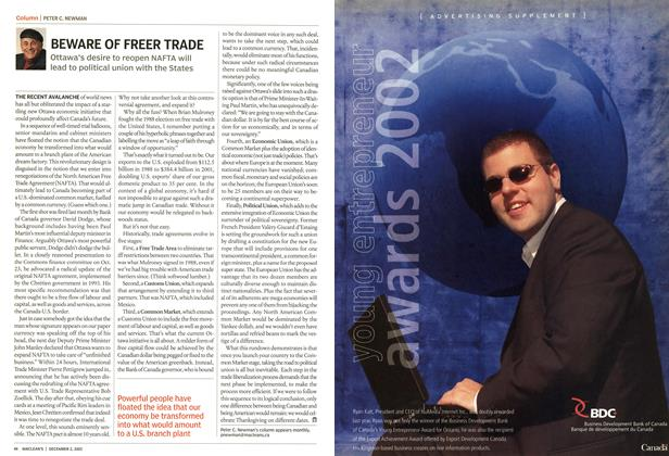 Article Preview: BEWARE OF FREER TRADE, December 2002 | Maclean's