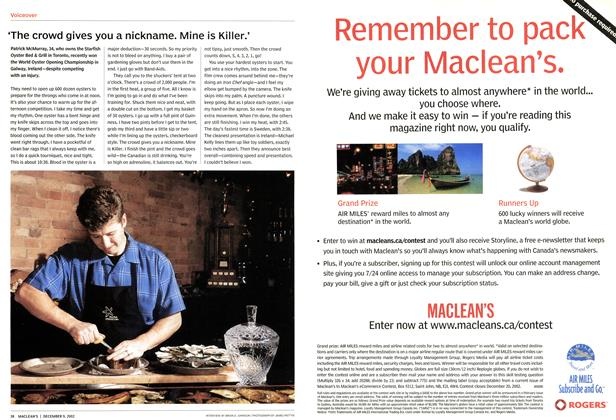 Article Preview: 'The crowd gives you a nickname. Mine is Killer.', December 2002 | Maclean's