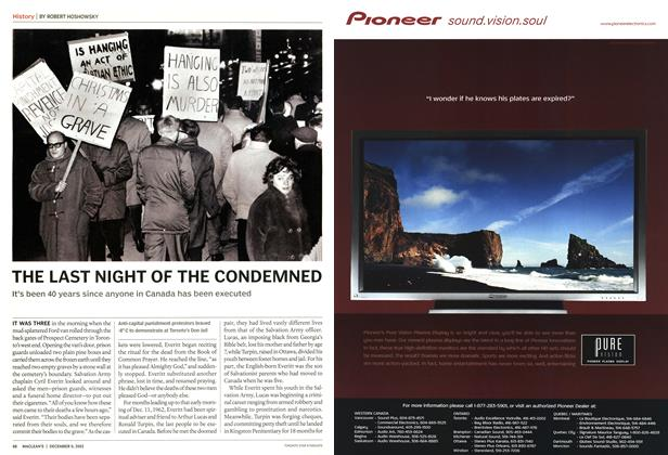 Article Preview: THE LAST NIGHT OF THE CONDEMNED, December 2002 | Maclean's