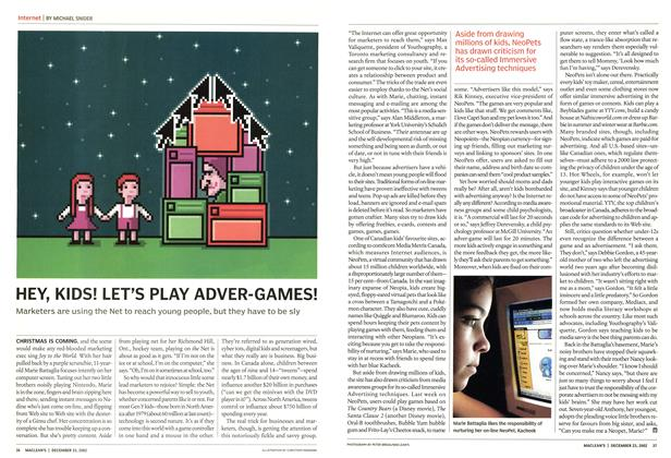 Article Preview: HEY, KIDS! LET'S PLAY ADVER-GAMES!, December 2002 | Maclean's