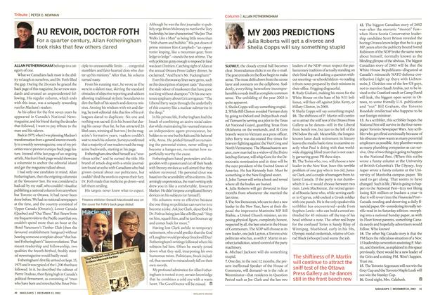 Article Preview: MY 2003 PREDICTIONS, December 2002 | Maclean's
