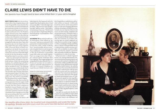 Article Preview: CLAIRE LEWIS DIDN'T HAVE TO DIE, December 2002 | Maclean's