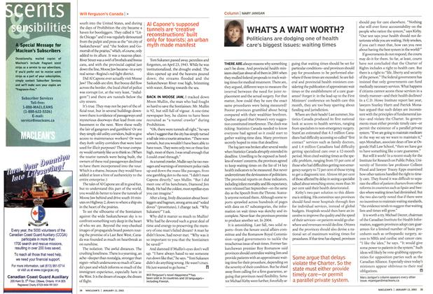 Article Preview: WHAT'S A WAIT WORTH?, January 2003 | Maclean's