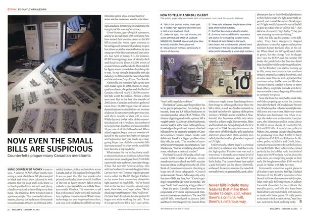 Article Preview: NOW EVEN THE SMALL BILLS ARE SUSPICIOUS, January 2003 | Maclean's