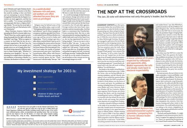Article Preview: THE NDP AT THE CROSSROADS, January 2003 | Maclean's
