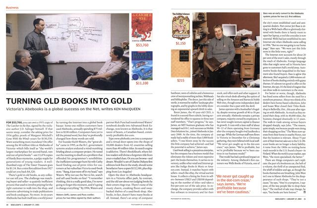 Article Preview: TURNING OLD BOOKS INTO GOLD, January 2003 | Maclean's
