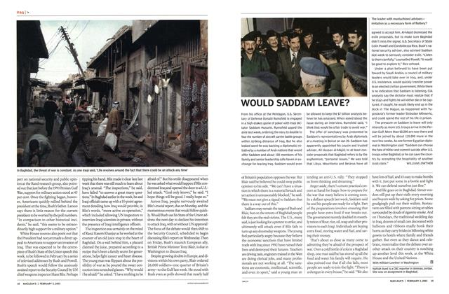Article Preview: WOULD SADDAM LEAVE?, February 2003 | Maclean's