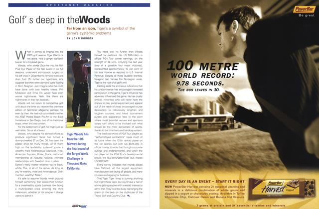 Article Preview: Golf's deep in theWoods, February 2003 | Maclean's