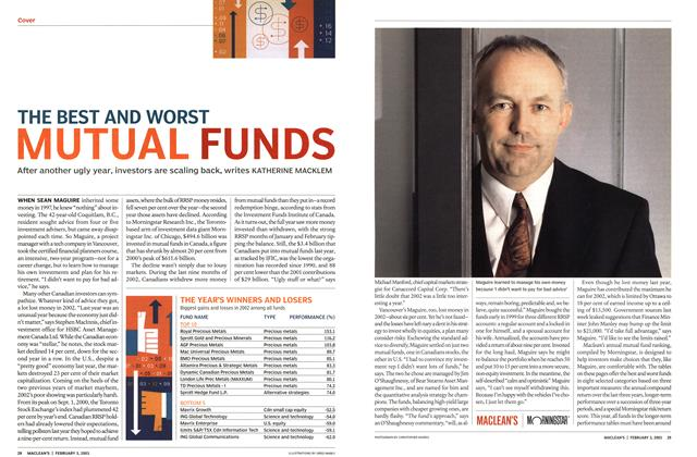 Article Preview: THE BEST AND WORST MUTUAL FUNDS, February 2003 | Maclean's