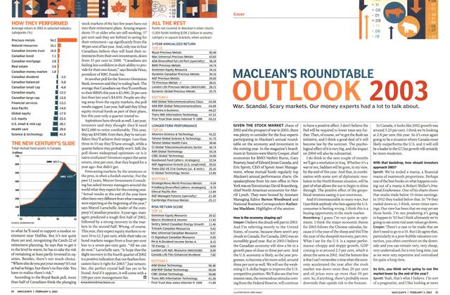 Article Preview: MACLEAN'S ROUNDTABLE OUTLOOK 2003, February 2003 | Maclean's