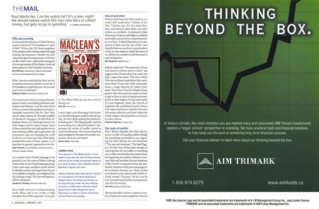 Article Preview: THE MAIL, February 2003 | Maclean's