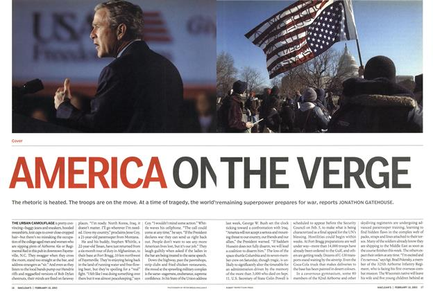 Article Preview: AMERICA ON THE VERGE, February 2003 | Maclean's
