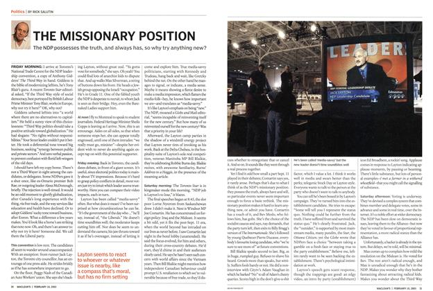 Article Preview: THE MISSIONARY POSITION, February 2003 | Maclean's