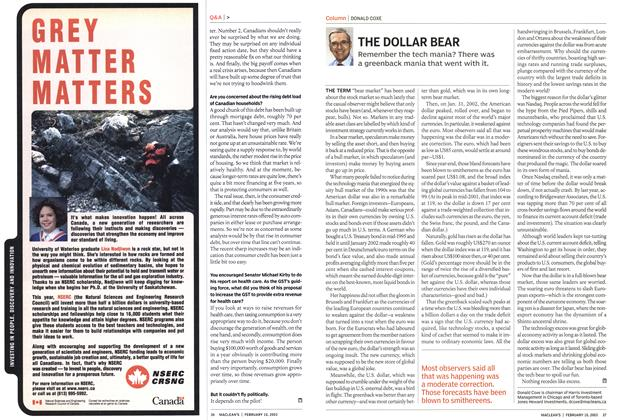 Article Preview: THE DOLLAR BEAR, February 2003 | Maclean's