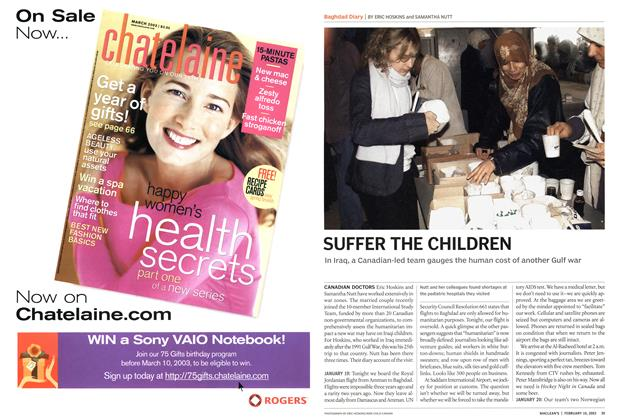 Article Preview: SUFFER THE CHILDREN, February 2003 | Maclean's