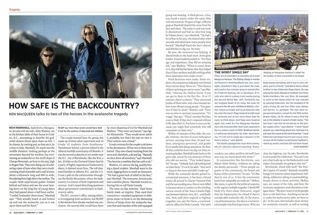 Article Preview: HOW SAFE IS THE BACKCOUNTRY?, February 2003 | Maclean's
