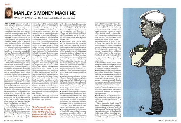 Article Preview: MANLEY'S MONEY MACHINE, February 2003 | Maclean's
