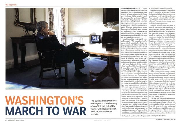 Article Preview: WASHINGTON'S MARCH TO WAR, February 2003 | Maclean's