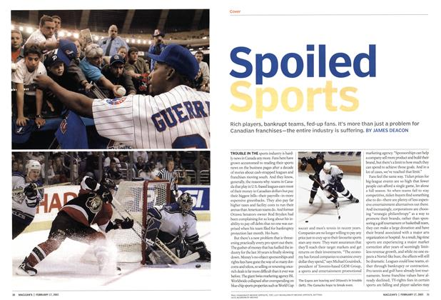 Article Preview: Spoiled Sports, February 2003 | Maclean's